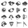 Weather forecast symbols icons set black — Stock Vector #71550393