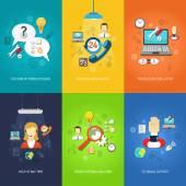 Computer support mini poster set multicolored — Stock Vector