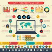 Nostalgic music infographic presentation print — Stock Vector