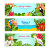 Tropical island flowers horizontal banners set — Stock Vector