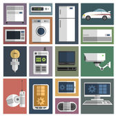 Internet things icons set flat — Stock Vector