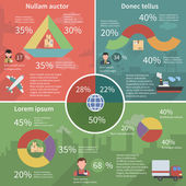 Worldwide logistic infographic flat poster — Vetor de Stock