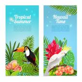 Tropical island birds vertical banners set — Stock Vector
