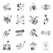 Business teamwork concept black icons set — Stock Vector