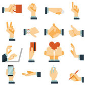 Hand icons set flat — Stock Vector
