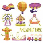 Amusement Park Icons Set — Stock Vector