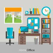 Home office furniture icon poster — Stock Vector