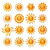 Sun symbol icons set  — Stock Vector