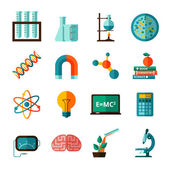 Science icons flat icons set — Stock Vector
