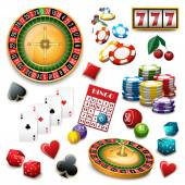 Casino symbols set composition poster — Stock vektor