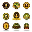 Beer old labels icons color set  — Stock Vector #74009435