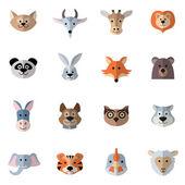 Animals Heads Flat — Stock Vector
