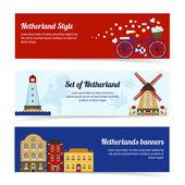 Nederländerna horisontella Banners — Stockvektor