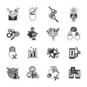 Business analysis icons set black  — Stock Vector