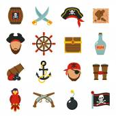 Pirate icons set flat — Stock Vector