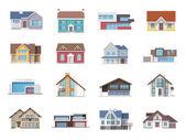 House Icons Flat — Vetor de Stock