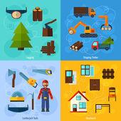 Woodworking Industry Set — Stock Vector