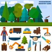 Woodworking Industry Icons — Stock Vector