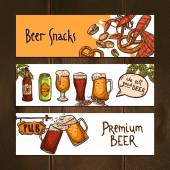Horizontal beer banners — Stock Vector