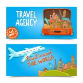 Around the world travel agency horizontal banners — Stock Vector