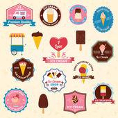 Ice cream emblemen set — Stockvector