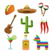 Mexican icons set flat — Stock Vector