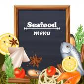 Seafood Menu Template — Stock Vector