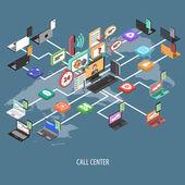 Support Call Center Concept — Stock Vector