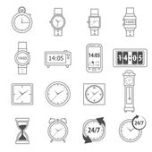 Time Icons Outline — Stock Vector