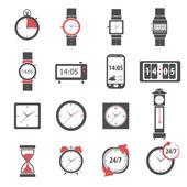 Time Icon Black Set — Stock Vector