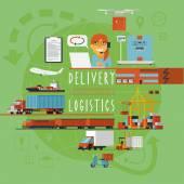 Worldwide transportation logistic concept poster — Vetor de Stock