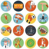 Team sport icons set flat — Stock Vector