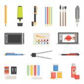 Drawing Tools Icons Flat Set — Stock Vector
