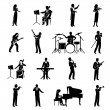 Musicians Icons Black — Stock Vector #75873519