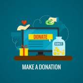 Donations online with laptop icon — Stock Vector