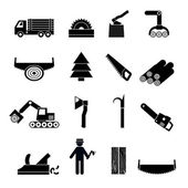 Woodworking Industry Icons Black — Stock Vector