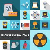 Kernenergie-symbole legen flach — Stockvektor
