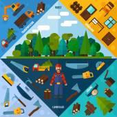Woodworking Industry Corners — Stock Vector