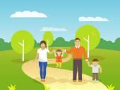 Family Outdoors Illustration — Stock Vector