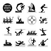 Water Sports Icons Black — Stock Vector