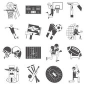 Team sport icons set black — Stock Vector