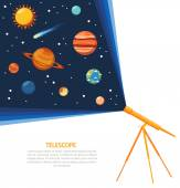 Telescope solar system concept poster — Stock Vector