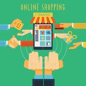 Concepto en línea a las manos de compras impresión — Vector de stock