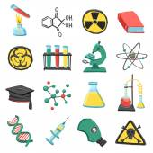 Laboratory chemistry icon set — Stock Vector