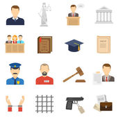 Justice flat icons set  — Stock Vector