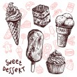 Ice Cream And Cakes Sketch Set — Stock Vector #77158125