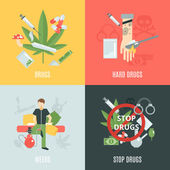 Drugs Flat Set — Stock Vector
