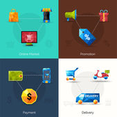 E-commerce Polygonal Icons — Stock Vector