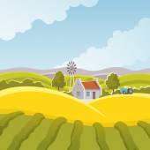 Landsbygdens landskap illustration — Stockvektor