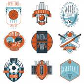 Sport clubs labels icons set — Stock Vector